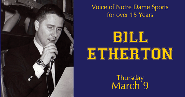 Bill Etherton Voice of Notre Dame Sports at the Library in Greenfield