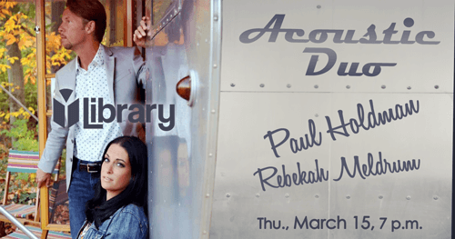 Paul Holdman and Rebekah Meldrum at the Library in Greenfield